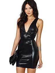 Глубокий V шеи без спинки кожа аварии сексуальное платье женская