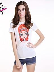 haoduoyi® Women's Cartoon Face Print Round Collar Slim Fitted Short Sleeve T-Shirt