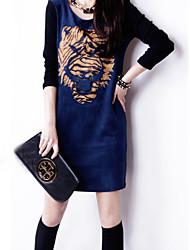 Delargent Women's Elegant Matching Slim Long Sleeve A-Line Dress