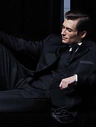 schwarzem Polyester slim fit vierteiligen Smoking