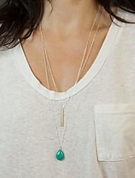 minimalistas borla multicapa gotas de agua de las mujeres collar de turquesa