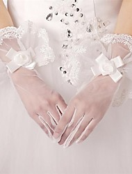 Wrist Length Fingertips Glove Satin/Lace/Tulle/Polyester Bridal Gloves