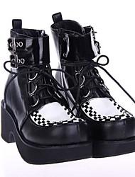 PU 7cm cuero zapatos del lolita punky plataforma negro