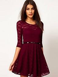 givenchy&vestido de la envoltura del cordón del color sólido de una mujer