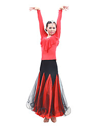 Ballroom Dance Dresses Women's Performance / Training Satin / Tulle Long Sleeve