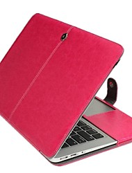 """Case for Macbook Air 13.3"""" Solid Color Genuine Leather Material Business Solid Color Newest Leather Foldable Case"""