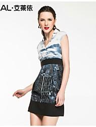 dressslim estate elegante print Immagine metropolitano v-collo chiffon vestito di un pezzo di eral®women