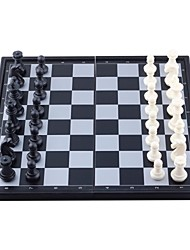Portable Mini Magnetic Chess Game Set in Folding Box - Black + White