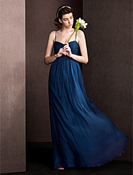Bridesmaid Dress Floor Length Silk Sheath Column Spaghetti Straps Dress