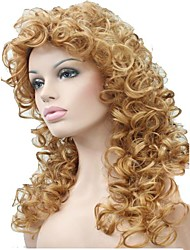 Women's Blonde Long Loose Curls Wig with Full Bang