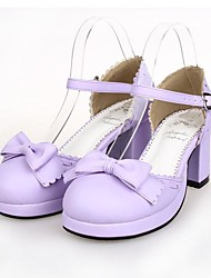 Lolita Shoes Sweet Lolita Lolita High Heel Shoes Bowknot 6.5 CM Light Purple For Women PU Leather/Polyurethane Leather