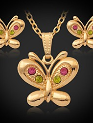 U7® 18K Gold Plated Platinum Cute Butterfly Pendant Necklace Earrings Rhinestone Jewelry Set White Gold Jewellery Gift