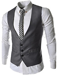 Men's Formal Blazer,Solid Sleeveless Cotton / Polyester