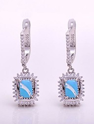 AS 925 Silver Jewelry  Azure jade stone comfortable Square Earrings