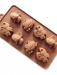 8 trous moules de chocolat de gelée de glace gâteau de forme grenouille abeille moule, silicone 23 x 12 x 2,5 cm (9,1 × 4,7 × 1 pouce)