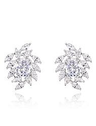 roxi don de femmes classique véritable autrichien blanc éclatant petites feuilles cristaux de zircon boucles d'oreilles (1 paire)