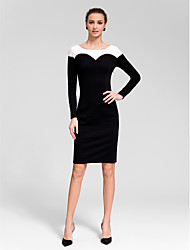 Cocktail Party Dress - Black Sheath/Column Jewel Knee-length Polyester