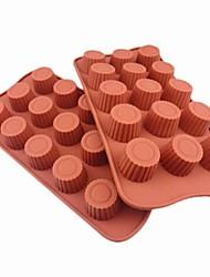 15 buracos moldes forma de cilindro bolo de gelo geléia de chocolate, silicone 21,5 × 10,5 × 2 cm (8,5 × 4,3 × 0.8inch)