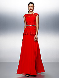 A-Line Bateau Neck Floor Length Chiffon Evening Dress with Beading by TS Couture®