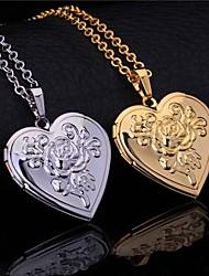 InStyle vintage rose cuore fiore foto medaglione ciondolo medaglioni 18k oro platino placcato collana unisex galleggiante