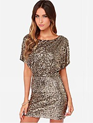 Women's Gold Sexy Backless Sequined Party Dresses