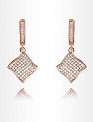 la roxi délicate des femmes a augmenté de boucles d'oreilles de style simple, or la boucle d'oreille zircon meilleur cadeau chute de bronze (1 paire)