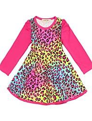 New Arrival 2015 Spring Children's Long-sleeved Knit Dress Girls Leopard Onepiece Dress Flower Dress