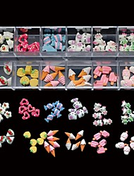 60PCS 12 Styles Mix Resin Candy Lovely DIY Nail Art Decoration