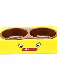 amarillo cuencos dobles plaza mascota suministra agua y el plato de comida de tamaño mediano para perros