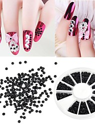 1200 Pcs 2mm Manicure Pearl Flat Semicircular Boxed Black Pearl Nail Art Decorations