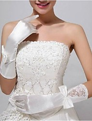 Elastic Satin Fingerless Elbow Length Wedding Gloves with Flowers ASG28