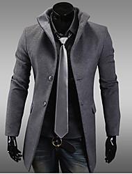 HUIZI Men's Fashion Korea Style Slim Tweed Coat