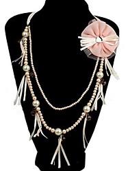 mode ketting en bloem broche sieraden set willekeurige kleur