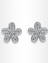 Women's Roxi Delicate Blossom Earrings Best Gift Send Your Girlfriend White Zircon Stud Earring(1 Pair)