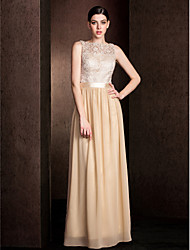 Floor-length Lace / Georgette Bridesmaid Dress - Champagne Plus Sizes / Petite Sheath/Column Bateau