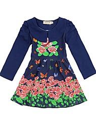 nuevo resorte de la llegada y vestido de flores vestido de leopardo de vestir de punto de las muchachas del vestido de manga larga de otoño de los