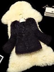 chaqueta de piel de abrigos de la mujer corta de piel de mapache rayas piel (más color)