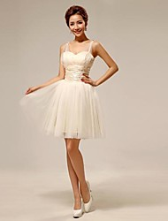 N/A Tulle Bridesmaid Dress - Elegant Ball Gown Strapless with Bandage