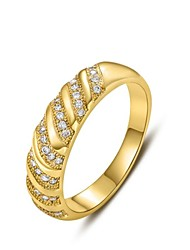 Women's Fashion 18K Slant Diamanted Copper Statement Rings(1 Pc)