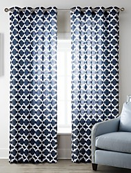 Neoclassical One Panel Geometric Blue Living Room Polyester Panel Curtains Drapes