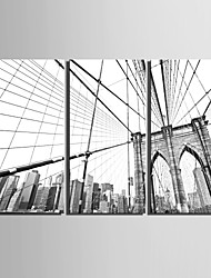 E-HOME® Stretched Canvas Art City Building Decoration Painting  Set of 3