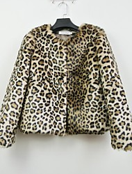 Fur Jacket Fashion Long Sleeve Collarless Faux Fur Party/Casual Jacket