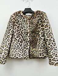 partito manica lunga colletto di eco-pelliccia giacca di pelliccia moda / giacca casual