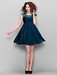 A-Line Jewel Neck Short / Mini Satin Chiffon Cocktail Party Homecoming Prom Dress with Beading Lace Criss Cross Ruching by TS Couture®