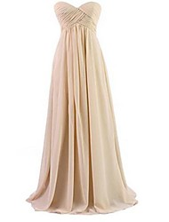 Floor-length Chiffon Bridesmaid Dress - Orange/Royal Blue/White/Black/Beige/Purple/Yellow A-line Sweetheart