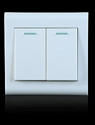 250V 10A Wall Concealed Two Single Control Switch Panel - White