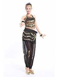 Belly Dance Outfits Women's Training / Performance Chiffon / Polyester Coins / Tassel(s) Belly Dance / Performance Sleeveless Natural