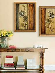 E-HOME® Framed Canvas Art, Flower Patterns Framed Canvas Print Set of 2