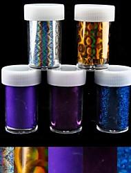 5pcs feuille laser ongles décorations étoilées ongles autocollants (150x4x0.1cm)