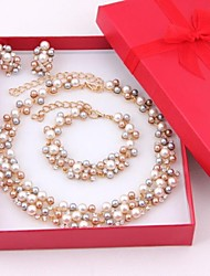 Women's Jewelry Set Drop Earrings Pearl Necklace Strand Bracelet Imitation Pearl Rhinestone Pearl Bridal Elegant Costume Jewelry Pearl